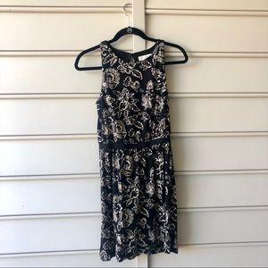 LOFT Black & White Floral Dress